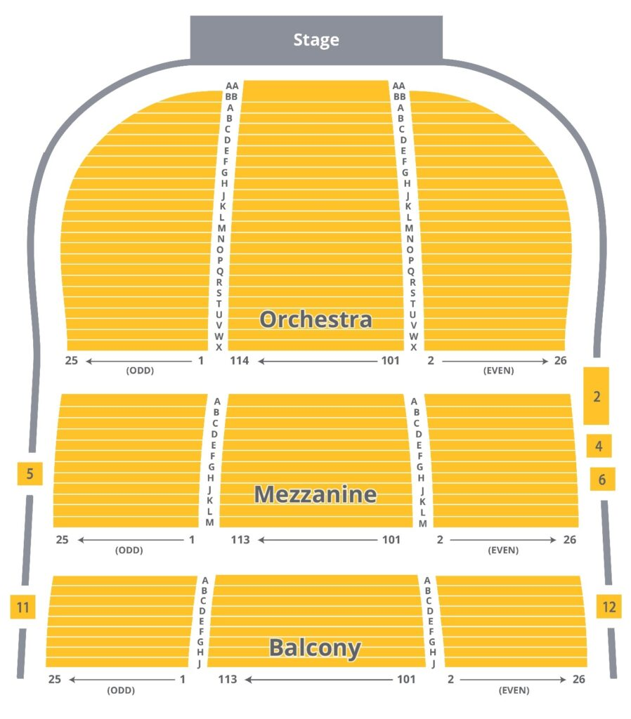 Seating chart of The National Theatre.
